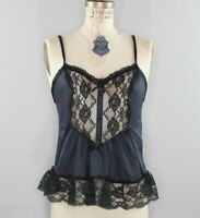 Vintage Camisole | Sheer Cami Top | 80s Stroke of Midnight Lingerie