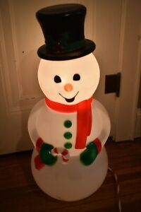 Snowman Lighted Blow Mold Indoor Outdoor Christmas Decoration Yard 29 inches New