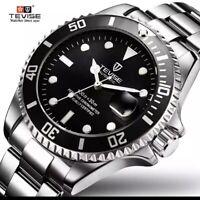 Montre Automatique Mecanique Homme Acier Étanche Noir Luxe Horloge Neuf FR