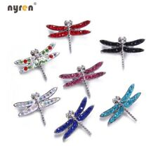 6pcs Dragonfly Rhinestone Snap Charms 18mm Snap Button For 20mm Snaps Jewelry 05