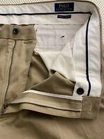 Polo Ralph Lauren 38 x 36 Khaki Stretch Classic Fit Cotton Twill 5 Pocket Pants