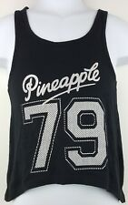 Girls Tu Pineapple Sleeveless Vest Top Size 4 Years Cotton Black Cropped Front