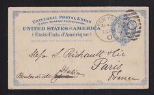 USA 1892 SC #UX6 POSTAL STATIONERY CARD NEW YORK DUPLEX TO PARIS FRANCE