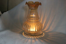 Vintage Art Noveau French Striped Tinted  Glass Lamp Shade.