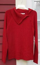 "JM COLLECTION Shimmery Red Long Sleeved Collared Ribbed Sweater Large (42"") MINT"