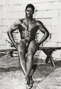 1950s BRUCE BELLAS of Los Angeles Black Nude Male Vintage Photo Engraving 11X14