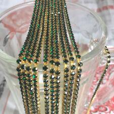 SS8 (2.5mm) Crystal Rhinestone Close Chain Trim Sewing Craft DIY Crystal Chain E