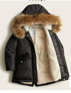 NWT Crewcuts Jcrew M (8-9) black Fishtail Winter Coat Jacket Parka primaloft