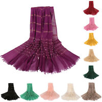 Women Gold Thread Cotton Long Scarf Muslim Hijab Shawl Wraps Headwear Wholesale