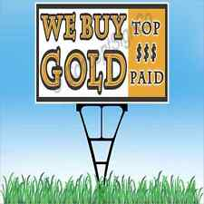 """18""""x24"""" WE BUY GOLD Outdoor Yard Sign & Stake Sidewalk Lawn Sales Coins Silver"""