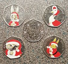 50p coins x 5 beatrix potter series full set with colour decals christmasxmas