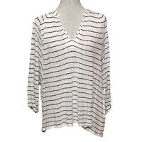 Lucky Brand Striped Gauze Tunic Top Womens Size Large White Navy Blue Blouse