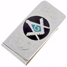 Money Clip Turquoise Inlaid Engraved Freemason Logo