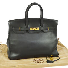 Authentic HERMES BIRKIN 35 Hand Bag Black Veau Gulliver France Vintage JT05278