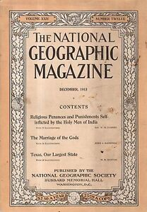 1913 National Geographic December - Texas; Penance and self-punishment in India