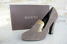 orig GUCCI Gr 39,5 High Heels Pumps Schuhe Shoes graubraun taupe NEU UVP 585 €