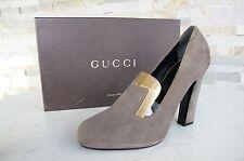 ORIG gucci talla 39,5 tacón alto zapatos de salón zapatos Shoes gris marrón Taupe nuevo PVP 585 €