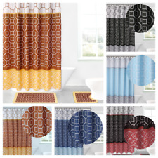 15Pc Bathroom Bath Rugs Mats and Shower Curtain Set 3-Tone Mix Color Patchwork