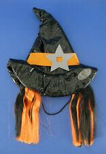 Halloween Dog Witch Costume Vinyl Hat Black Orange Hair Size Small