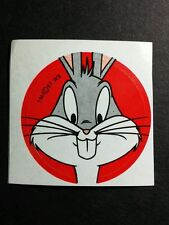 "LOONEY TOONS TUNES BUGS BUNNY RED STARE FACE VINTAGE '97 1.5"" CARTOON TV STICKER"