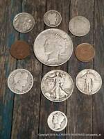 Peace and Liberty Lot of Silver Dollar, Half Dollar Lot of 10 Rare Old US Coins
