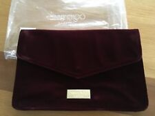 BRAND NEW 100% GENUINE JIMMY CHOO RED BURGUNDY VELVET EVENING CLUTCH BAG