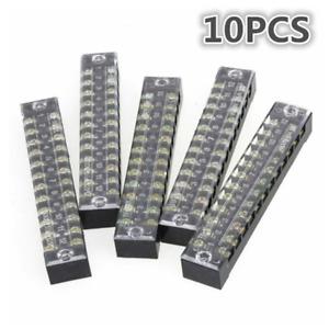 10PCS Dual Row 12 Positions Screw Terminal Electric Barrier Strip Block 600V 15A