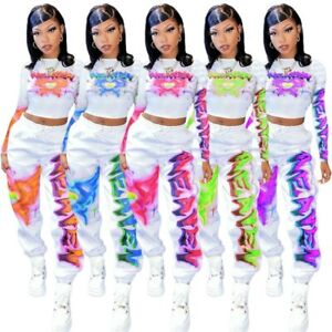 2 Piece Outfit for Women Set Sweat Suit Crop Sweatpant Joggers Tracksuit