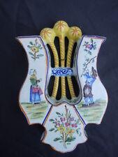 Lyre faience bouquetière decor paysan breton fleurs insectes no quimper