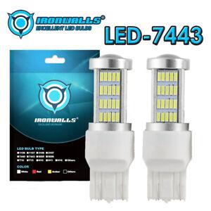 2x 33W White LED 7443 5730 High Power Turn Reverse Super Bright Light Bulbs DRL