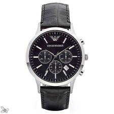 Emporio ARMANI Herrenuhr AR2447 Farbe: Schwarz / Silber Kroko Style Chronograph