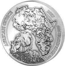 African Ounce Flusspferd Hippopotamus 2017 1 OZ Silber Silver Ruanda Rwanda
