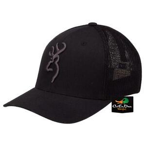 NEW BROWNING COLSTRIP MESH BACK FLEX FIT BALL CAP HAT BUCKMARK LOGO BLACK
