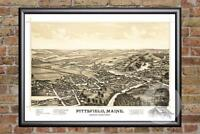 Vintage Pittsfield, ME Map 1889 - Historic Maine Art - Old Victorian Industrial