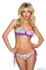 Bikini-Set  Push up Bademode Damen Bandeau-Form Gr. 38/40 Cup C Multicolor-Lila