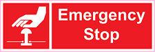Maquinaria rojo de parada de emergencia de salud y seguridad Pegatina de vinilo 300x100mm