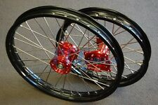 "HONDA CR80 CR85 FRONT/REAR 19""/16"" MX WHEELS SET BLACK RIM RED HUB 92-15 I RMH03"