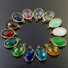 multi color various sizes faceted Czech glass charm beads oval pendants 10Pcs