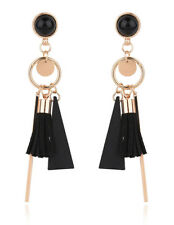 Black Bohemian Earrings Vintage Long Tassel Fringe Crystal Boho Dangle Women