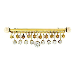 Antique Victorian 18k Gold 2.40ctw Old Mine Diamond Flower Dangle Bar Pin Brooch