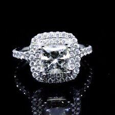 Dual Halo 1.60 Ct Princess Cut Diamond Engagement Ring 14K WG F,VVS1 GIA