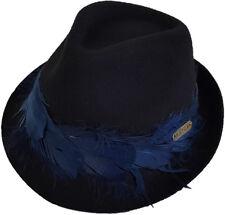 Hatch Pom - Packable Wool Felt Winter Fedora Plume Hat- Black