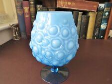 Vintage Italian Empoli Opaque Blue Brandy Glass - Moulded Bubble Decoration