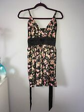 women's Mela Loves London  floral satin dress size small, only worn once