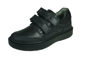 Geox J Riddock B F Boys Leather School Shoes Hook and Loop Closure - Black