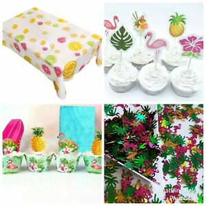 Hawaiian Cupcake Wrappers Toppers Picks Flamingo Pineapple Table Cloth Loot Bags