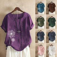 Womens Casual Tops Button Linen O-neck Plus Size Print Boho Tanic Shirt Blouse