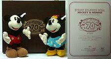 Disney Japan Steiff Mickey & Minnie Mouse Happy 70th Year LE Plush Doll Set