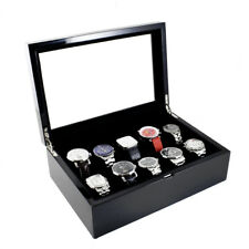 BLACK PIANO FINISH WOOD WATCH CASE BOX WITH GLASS TOP LID HOLDS 10 WATCHES