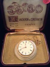 vacheron constantin 18k gold kw pocket watch with chain& box with original key